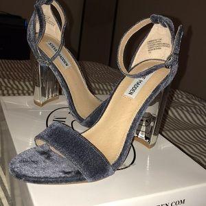 Steve Madden grey velvet mirror heels Carrsonv